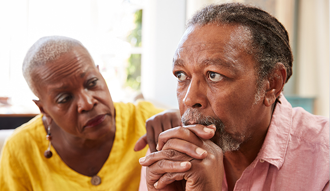 concerned older couple