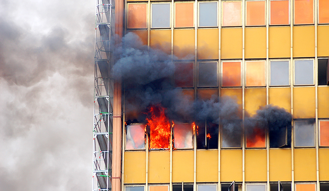 building burning